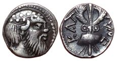 Greek Antiquity - Sicily, Katane c. 461-450 BC - AR Litra (Silver, 10mm, 0,85g.) - Head of Selinos / Winged thunderbolt - SNG ANS 1237; SNG Cop. -