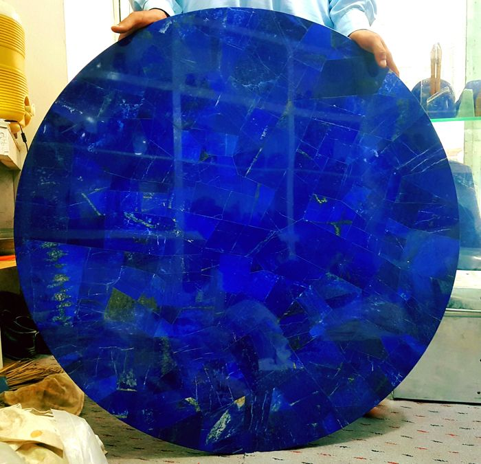 Gorgeus Hand Made Royal Blue Lapis Lazuli Table Top - 900 x 900 mm - 44 kg