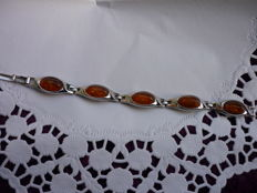 Bracelet with Baltic amber - real silver 835 - 24.9 g - 70s