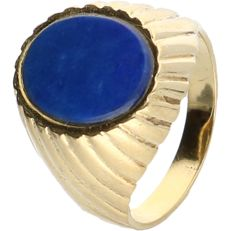 18 kt - Yellow gold tooled vintage ring set with lapis lazuli