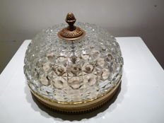 Ceiling light, art deco, large model in brass and faceted crystal