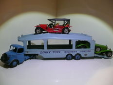 Dinky Toys/Matchbox - Scale 1/48 - Auto Transporter Pull More No.982 and Simplex 1912, Mercedes 1923 and Packard Victoria 1930