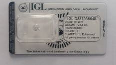 0.54ct Diamond  Round cut  F I1  IGL Lab report -no reserve
