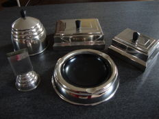 Nickel plated Art Deco smoking set from the 1930's.