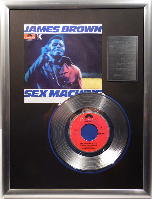 "James Brown - Sex Machine -  7"" Single Polydor Records platinum plated record Special Edition"