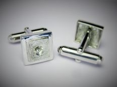 925 Silver Handmade Cuff-Links with Yellow Sapphire