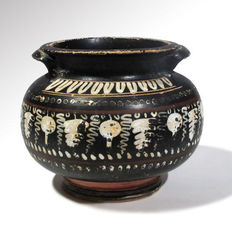Greek Gnathian Painted Pottery Vessel, 10 cm D / 8.3 cm