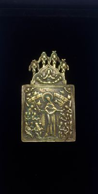 "Russian - silver gilt - Travel Icon ""Mother of God, joy of all who sorrow""- second half 18th Century"