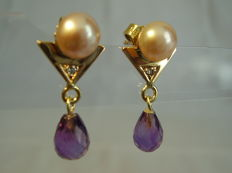 Signed golden 14kt earrings with diamonds and pale pink pearls as well as faceted amethyst droplets together 4ct.