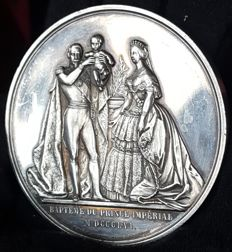 France - Medal 'Napoleon III / Baptism of the Imperial Prince' 1856 by Caqué - Silver