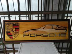 PORSCHE - Unique Big Logo carved in wood - 101 x 33 cm