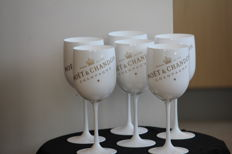 6 new white acrylic champagne glasses from Moet & Chandon Imperial Ice