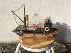 Boat, liqueur cabinet with music box