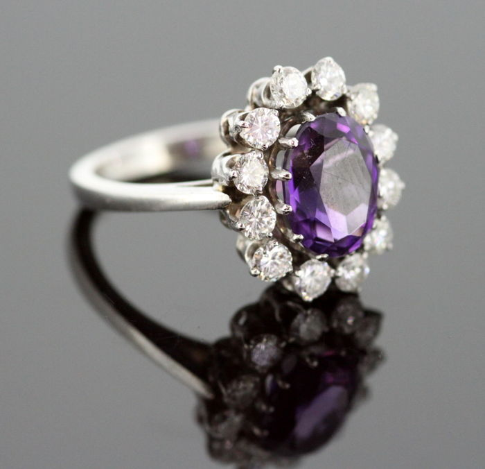 Vintage 18K White Gold Ladies Ring With Amethyst (2 CT) and Diamonds (0.84 CT Total) C.1970's