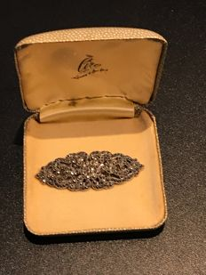 Art Deco crystal set silver boxed Ciro brooch duette clip