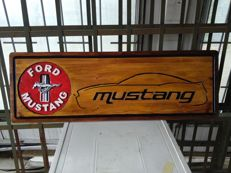 MUSTANG - Unique Big Logo carved in wood - 101 x 33 cm