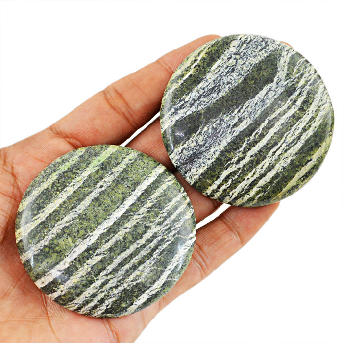 Big Green Chrysotile Serpentine Cabochon gem - 58x08 mm - 465 cts (2pcs)