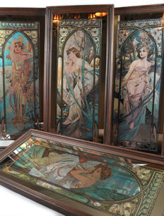 """The Times of the Day"" 4 decorative mirrors by Alphonse Mucha - 1970's, France."