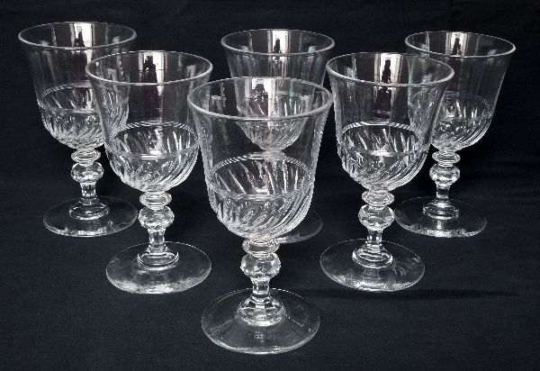 6 Baccarat crystal wine glasses in tulip form, Napoleon III period, circa 1860