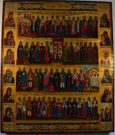 """The russian orthodox icon """" The Menaion of  October """", hand painted, wood, tempera, 35 X 30 cm."""