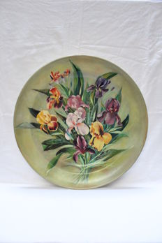 Very large ceramic plate - 51.8cm diameter - Floral decor - Signed ''LUCE''