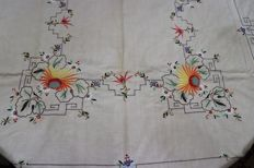 Magnificent vintage linen towel! Embroidered in colour, sculpture from Madeira island Portugal.