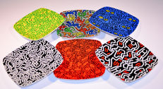 Keith Haring - Collection of Six Saucers cm 20 x 20 produced on the original design by Tognana, Italy. New, never used