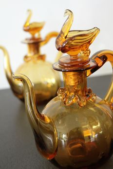 Oil and vinegar bottles in hand blown glass - France 20th century