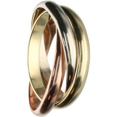 14k - Tri-colour ring, consisting of 3 loose rings - Ring size: 17 mm