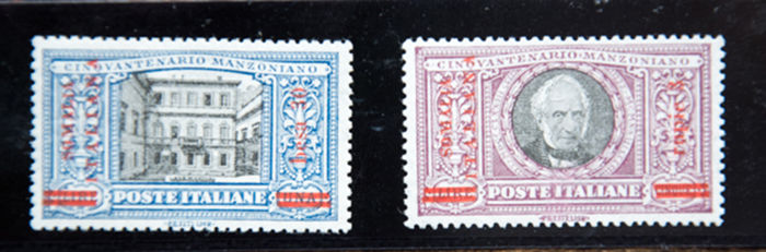 Somalia 1924 - Two high value 'Manzoni' with overprinting in red, Sassone No. 59-60 - New