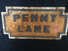 "The Beatles : Street name Plate ""Penny Lane""and Bookwork"