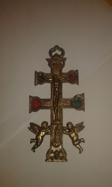 Antique Christ Cross with Angels. Ca. 1900 - Portugal.