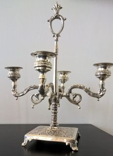 4-flame Sheffield silver candelabra - 20th century - Italy