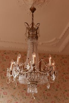 chandelier made of crystal glass in empire style, first half of 20th century