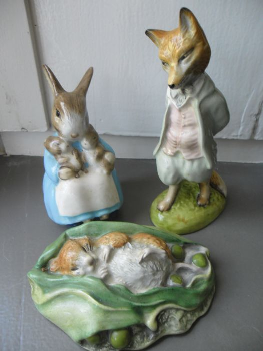2 x Royal Albert and 1 Beswick - 3 Beatrix Potter sculptures