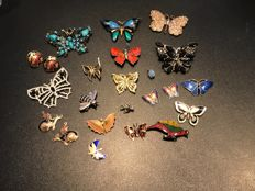 Collection of 23 butterflies and bug Brooches