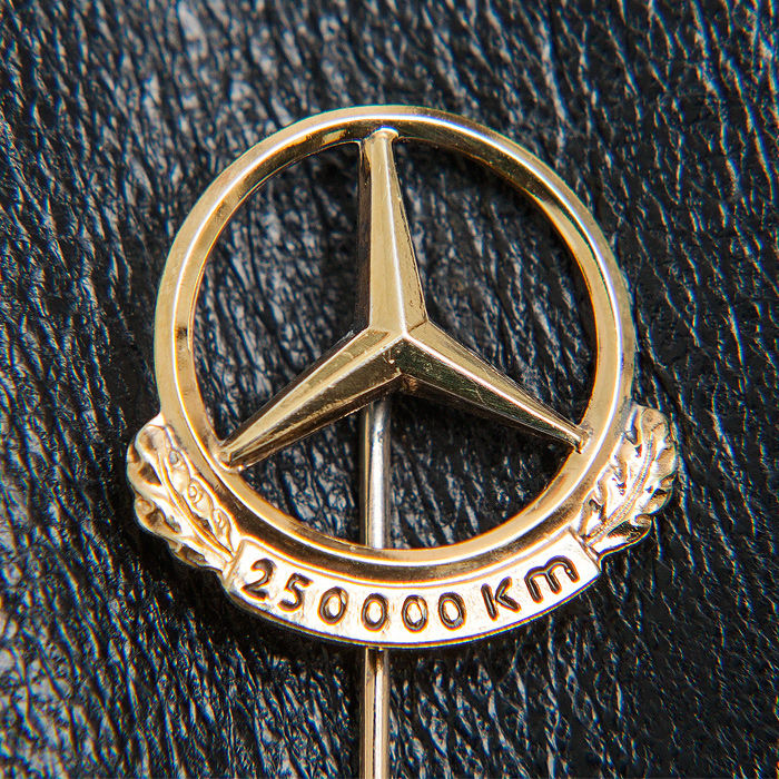 Polished & cleansed  - Mercedes Benz Daimler Silver Gold Pin 250.000 Km - Figure, Figurine(s), Jewellery, Limited edition, Medals, Metalware, Pin, Pins, Sign, Silver, Silver miniature, Toy (1) - .835 silver, Gold
