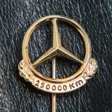 Old Mercedes Benz 250.000 Km Pin / Brooch 835 Silver / 18k Gold Plated - * No Reserve Price *