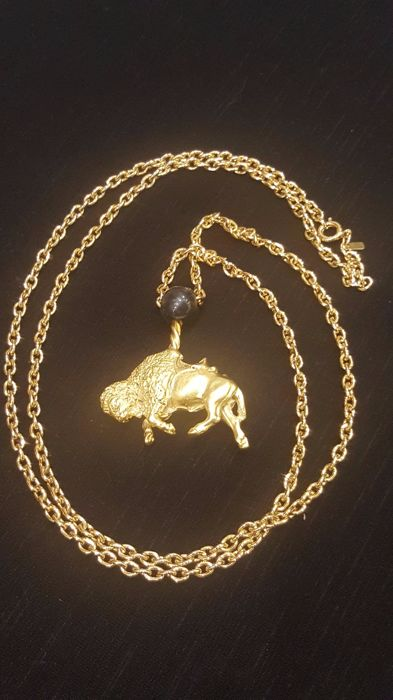 Vintage Signed Monet rare Lion Head - Bull body long Necklace from 1990's