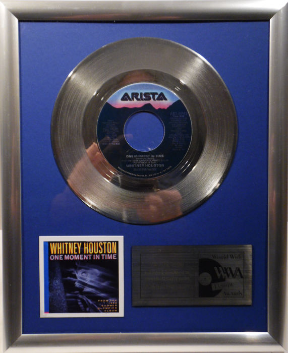 "Whitney Houston - One moment in time -  7"" Arista Records platinum plated record by WWA Awards"