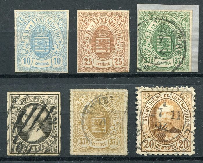 Luxemburg 1852/93 - Coat of arms, First Issue and Adolphe I - Yvert 1, 6, 8, 10, 22, 61a