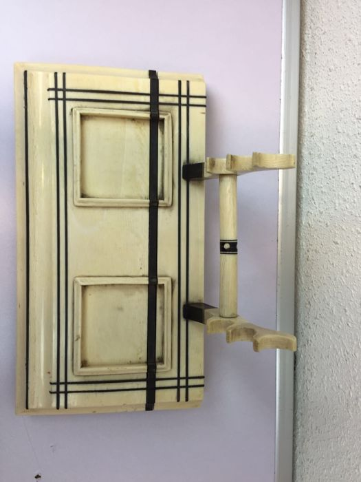 art deco solid ivory ink set inlaid with ebony catawiki. Black Bedroom Furniture Sets. Home Design Ideas