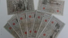 Lot of 9 banknotes of 1,000 Marks - crisis money - Reichs banknotes 21 April 1910 - Berlin