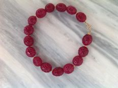 Bracelet made of Rubies with yellow gold 18 kt clasp, length 22 cm