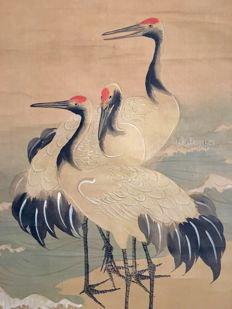 'Cranes' - old and detailed handpainted hanging scroll, signed and sealed - Japan - ca. 1820 (Edo period)