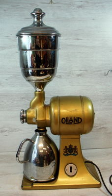 Olland, gold-coloured metal coffee grinder with can and funnel, around 1932