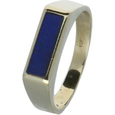 14 kt Yellow gold men's ring set with Lapis Lazuli - size 19