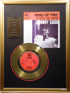 "Johnny Cash - Ring of Fire - 7"" Single CBS Records golden plated record Special Gold Edition"