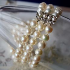 Beautiful 3-row bracelet with ivory-white Japanese Akoya pearls (78) and high quality 14kt. gold lock with G/VVS ca. 0.36Ct. brilliant cut diamanten.