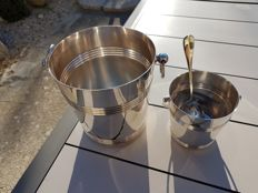 """Luc Lanel"" champagne bucket and ice bucket set, ""ripple"" model, plus spoon for ice bucket, Christofle brand"